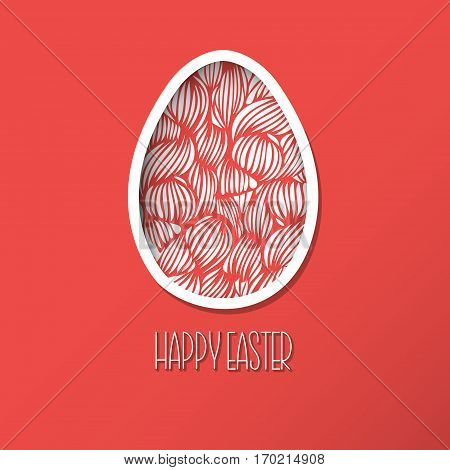 Greeting Easter Card With Egg With Wave Pattern. Cute Doodle Style Easter Egg Like Paper With Shadow