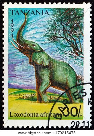 TANZANIA - CIRCA 1991: a stamp printed in Tanzania shows African bush elefant loxodonta africana animal circa 1991