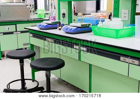 Magnetic stirrer and chemistry experiment in laboratory