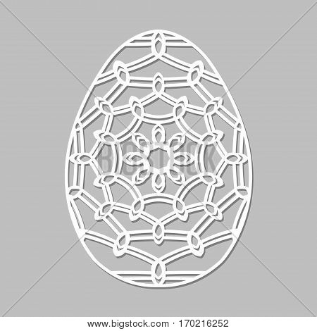 Vector Stencil Lacy Easter Egg With Carved Openwork Pattern. Template For Interior Design, Layouts I