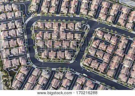 Aerial view of dense modern housing tract in Los Angeles, California.