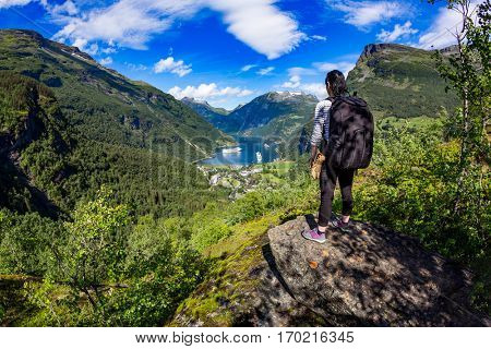 Geiranger fjord, Beautiful Nature Norway panorama.15-kilometre (9.3 mi) long branch off of the Sunnylvsfjorden, which is a branch off of the Storfjorden (Great Fjord). Tourism vacation and traveling.