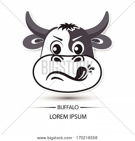 Buffalo Face Touchy Logo And White Background Vector