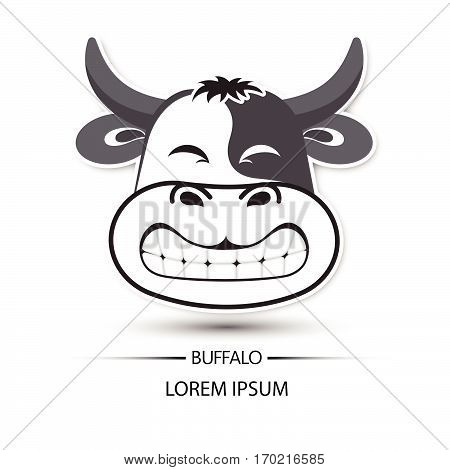Buffalo Face Saw Tooth Smile Logo And White Background Vector