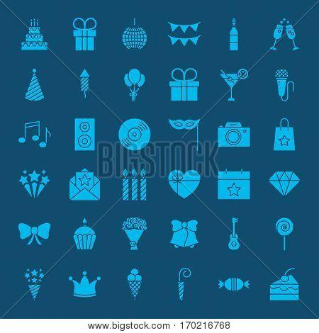 Birthday Glyphs Website Icons. Vector Set of Party Celebration Symbols.