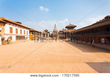 Bhaktapur Durbar Square Entire Wide Angle View H