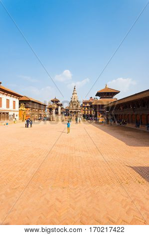 Bhaktapur Durbar Square Entire Wide Angle View V