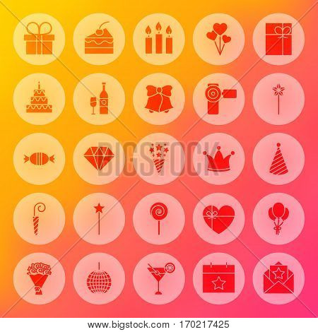Happy Birthday Solid Circle Icons. Vector Illustration of Party Celebration Glyphs over Blurred Background.