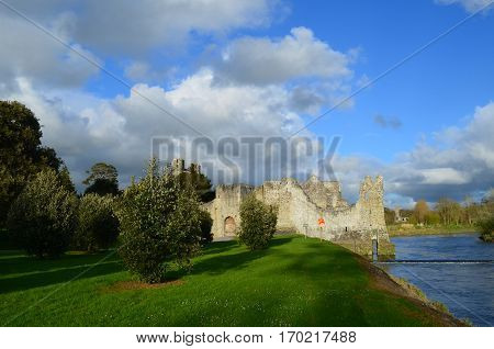 Adare's Desmond Castle ruins and grounds in Ireland.