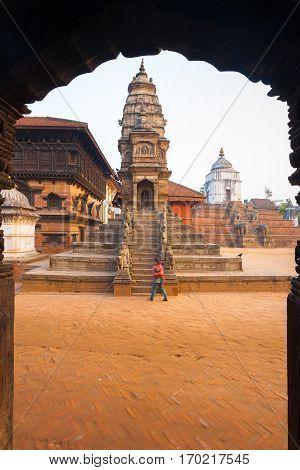 Bhaktapur Durbar Square Siddhi Laxmi Temple Framed