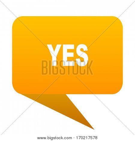 yes orange bulb web icon isolated.