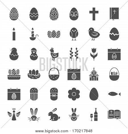Happy Easter Solid Web Icons. Vector Set of Spring Holiday Glyphs.