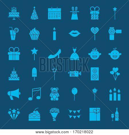 Party Glyphs Website Icons. Vector Set of Happy Birthday Symbols.