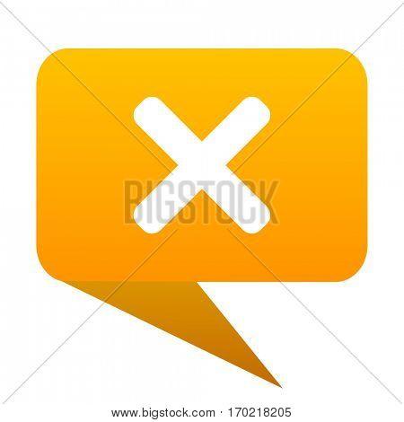 Cancel orange bulb web icon isolated.