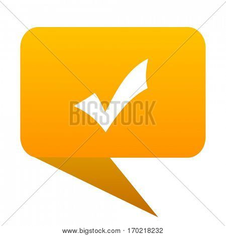 Accept orange bulb web icon isolated.