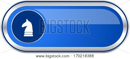 Chess horse long blue web and mobile apps banner isolated on white background.