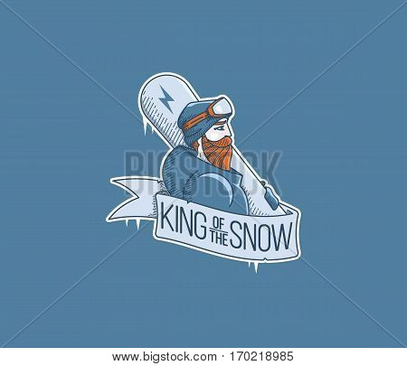 Vector winter sport snowboarding king of the snow