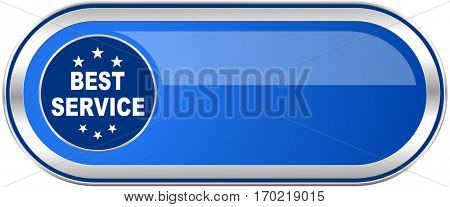 Best service long blue web and mobile apps banner isolated on white background.
