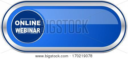 Online webinar long blue web and mobile apps banner isolated on white background.