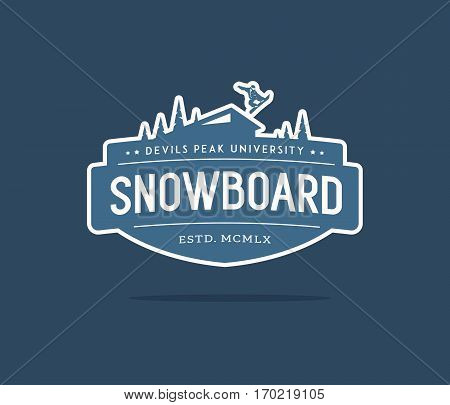 Vector winter sport snowboarding extreme college concept