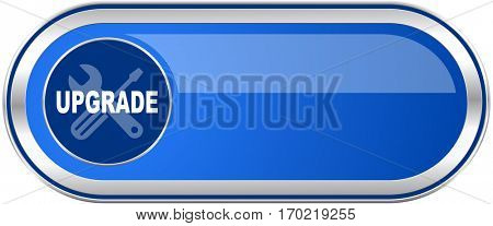 Upgrade long blue web and mobile apps banner isolated on white background.