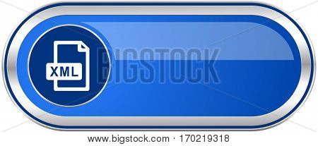 Xml file long blue web and mobile apps banner isolated on white background.