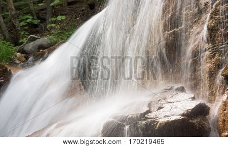 Flowing water at Flume Gorge in Franconia New Hampshire