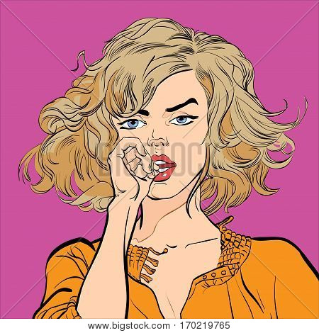 A pretty women looking worriedly. Pretty young women. Glamour blonde girl. Cute woman thinking about something. Cute blonde pin-up girl. Woman in hope. Feelings. Pop art retro style illustration.