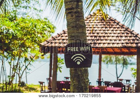 Free Wifi Arrow On The Beach