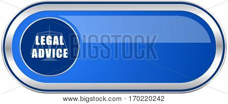 Legal advice long blue web and mobile apps banner isolated on white background.