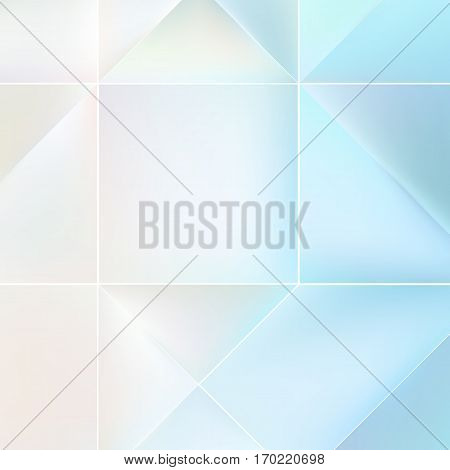 Blue and white mosaic background with light effects. Neutral vector background.