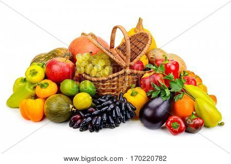 Basket with fresh fruits and vegetables isolated on a white background. The top view.