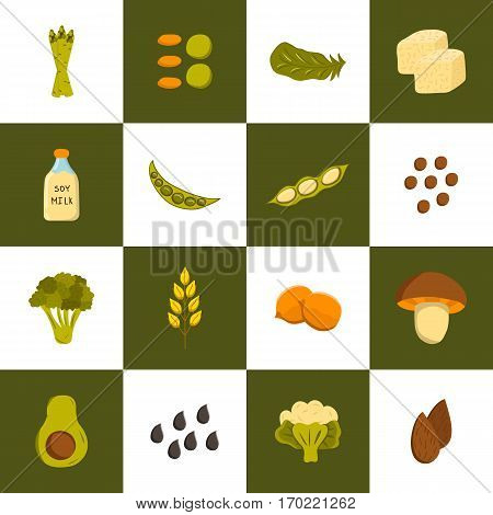 Vector illustration with cartoon source vegan protein icons: broccoli chia seeds oats seeds chickpeas avocado tofu soy milk spinach. Vector cartoon healthy diet icons. Healthy food concept