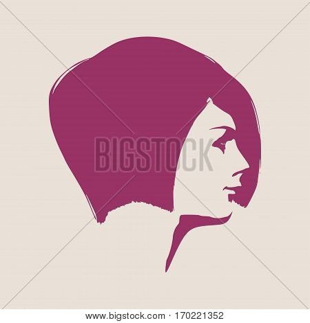 Face profile view. Elegant silhouette of a female head. Vector Illustration. Short hair. Monochrome gamma.