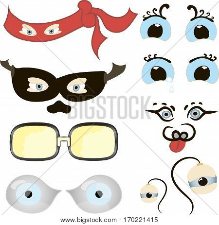Comic Eyes Set, Illustration of a set of funny cartoon human, animals, pets or creature's eyes with various expressions and emotions, from fear to joy, happiness, sadness, surprise, boring and angry