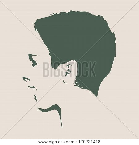 Face profile view. Elegant silhouette of a female head. Vector Illustration. Short hair. Monochrome gamma. . Isolated avatar of the expressions face. Surprised woman