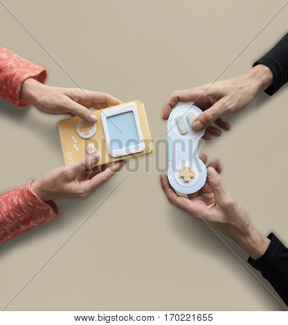 Two Persons Playing Game Console