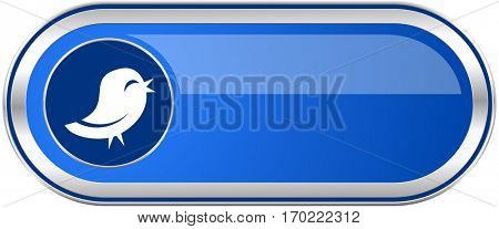 Twitter long blue web and mobile apps banner isolated on white background.