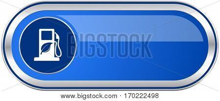 Biofuel long blue web and mobile apps banner isolated on white background.