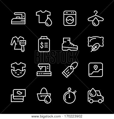 Set line icons of laundry isolated on black. Vector illustration