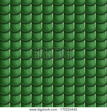 Cartoon Green Roof Tiles Seamless Background, collection texture
