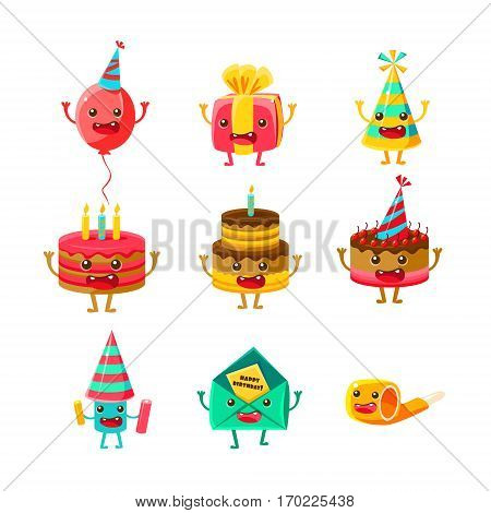 Happy Birthday And Celebration Party Symbols Cartoon Characters Set, Including Birthday Cake, Party Hat, Balloon, Party Horn And Fireworks. Colorful Humanized Birthday Party Associated Elements With Arms And Legs.