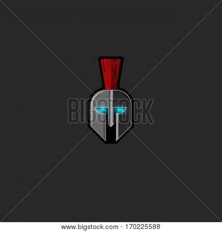 Roman warrior helmet logo ghost ancient fighter with glowing eyes, mockup fight club horror emblem or bodyguard