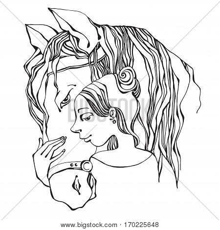 Girl and horse hand-drawn illustration vector illustration