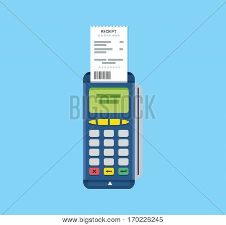 POS terminal and receipt vector icon. Credit card processing illustration in flat style.