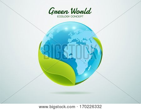 Green earth.Green global.Green world.Green planet. Leaf world.Eco world.Eco planet. Ecology concept.Ecology world.Ecology planet