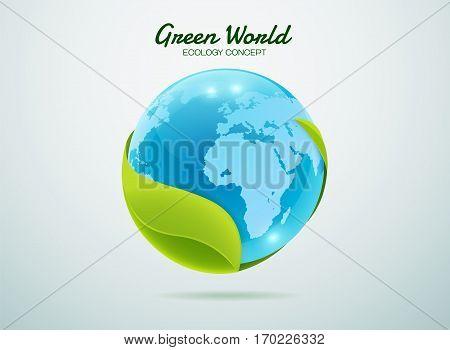 Green earth.Green global.Green world.Green planet. Leaf world.Eco world.Eco planet. Ecology concept.Ecology world.Ecology planet