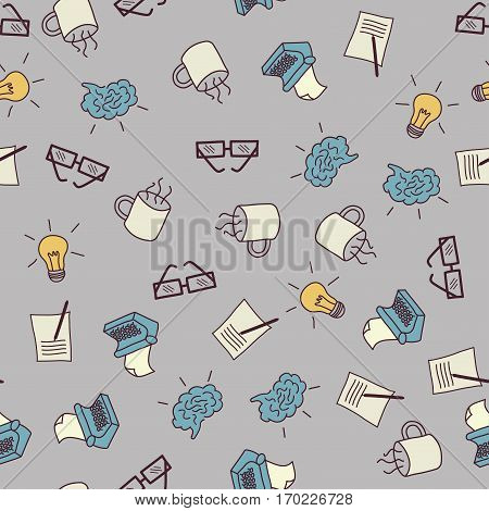 Vector seamless pattern. Creative process related hand drawn objects, such as reading glasses, coffee cup, typewriter, bulb and pice of paper.
