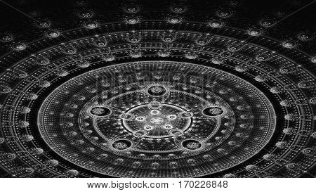 Arena. Stadium. Circles. 3D surreal illustration. Sacred geometry. Mysterious psychedelic relaxation pattern. Fractal abstract texture. Digital artwork graphic astrology magic