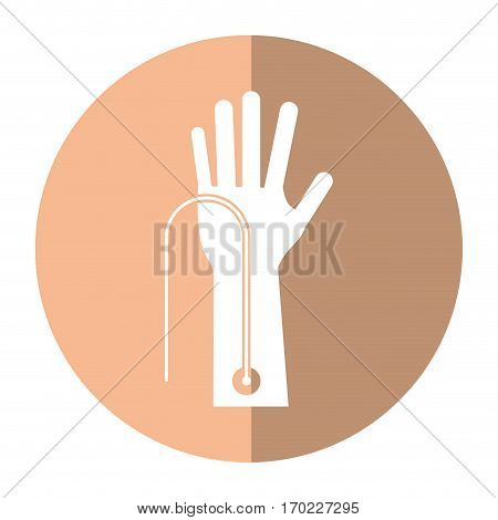 hand with intravenous dropper shadow vector illustration eps 10